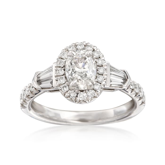 Henri Daussi 1.20 ct. t.w. Diamond Halo Engagement Ring in 18kt White Gold