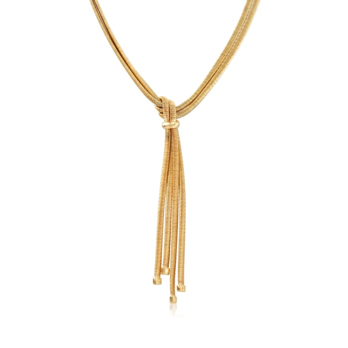 Italian 18kt Yellow Gold Over Sterling Silver Two-Strand Tassel Necklace