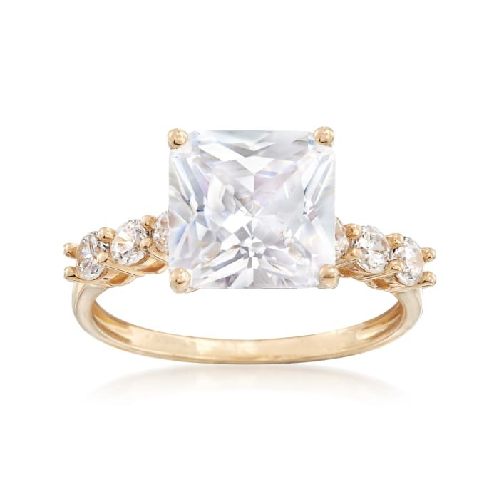 3.95 ct. t.w. Princess-Cut and Round CZ Ring in 14kt Yellow Gold