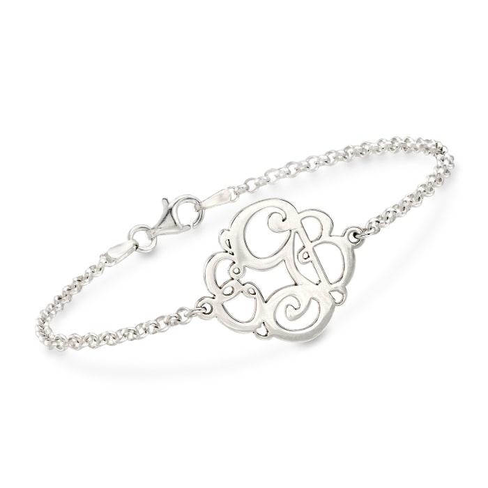 Sterling Silver Script Monogram Rolo Chain Bracelet