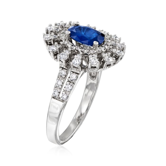 1.50 Carat Sapphire and .75 ct. t.w. Diamond  Ring in 14kt White Gold