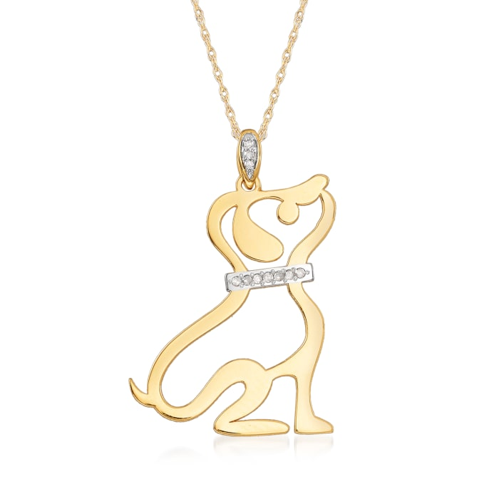 14kt Yellow Gold Cut-Out Dog Pendant Necklace with Diamond Accents