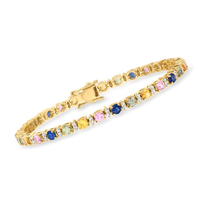 6.00 ct. t.w. Multicolored Sapphire and .75 ct. t.w. Diamond Bracelet in 14kt Yellow Gold