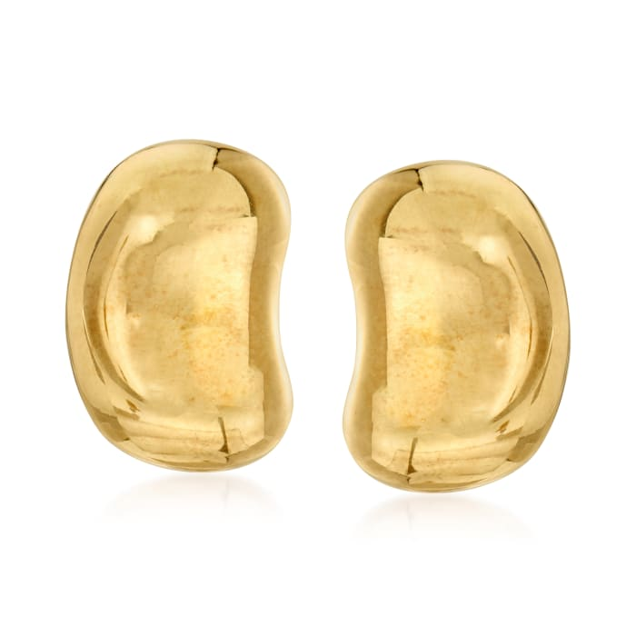 C. 1985 Vintage Tiffany Jewelry 18kt Yellow Gold Bean Clip-On Earrings
