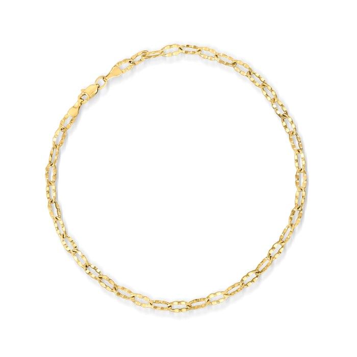 14kt Yellow Gold Crimped Link Anklet