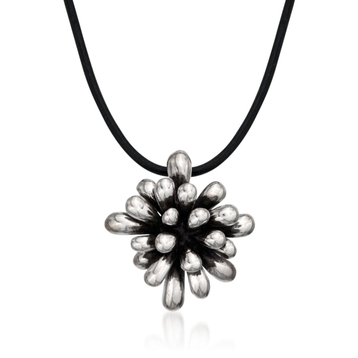 "Zina Sterling Silver ""Fireworks"" Pendant Necklace on Leather Cord"