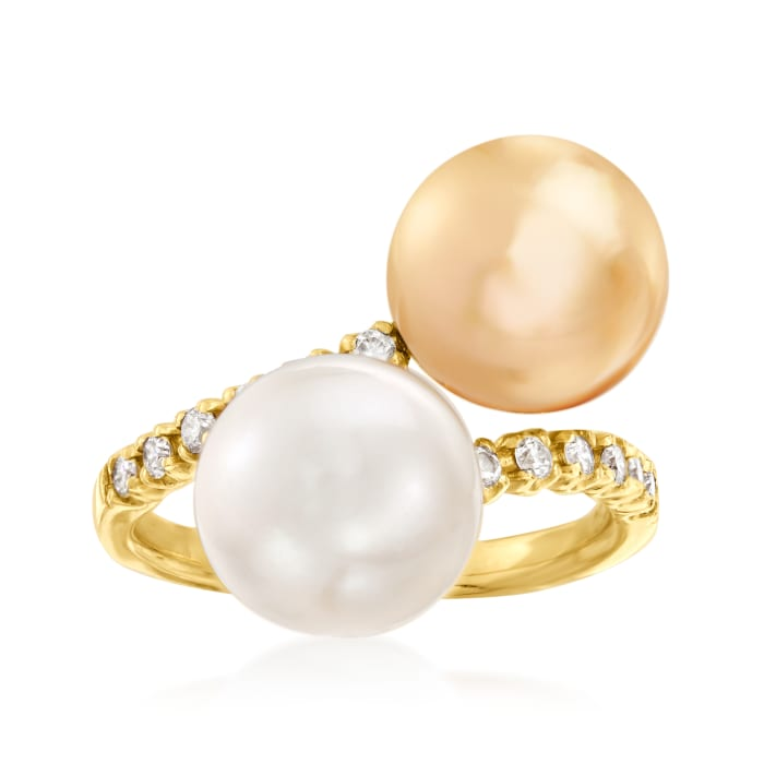 Golden and White Cultured South Sea Pearl and .23 ct. t.w. Diamond Bypass Ring in 18kt Yellow Gold