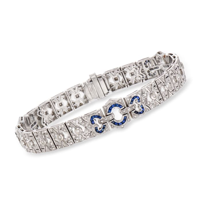 C. 1950 Vintage .75 ct. t.w. Diamond and 2.25 ct. t.w. Sapphire Bracelet in 18kt White Gold
