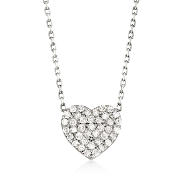 .25 ct. t.w. Diamond Heart Necklace in 14kt White Gold