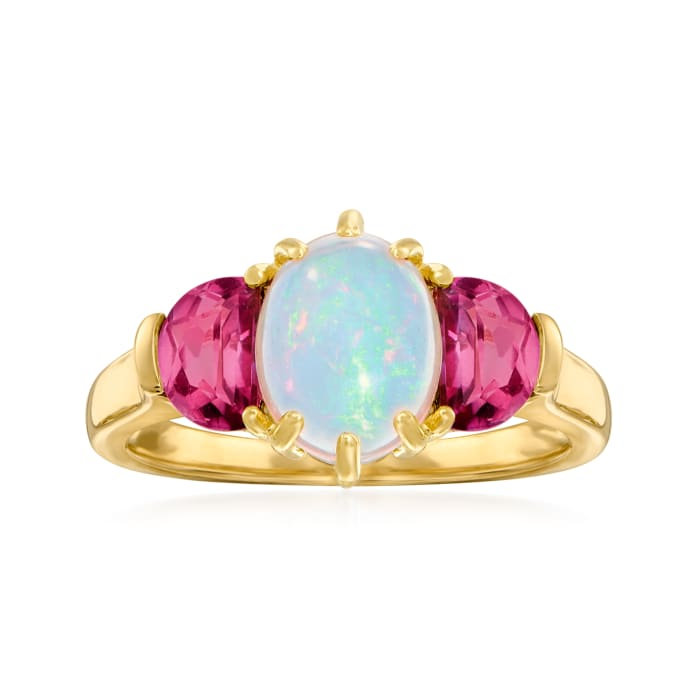 Opal and .80 ct. t.w. Pink Topaz Ring in 14kt Yellow Gold