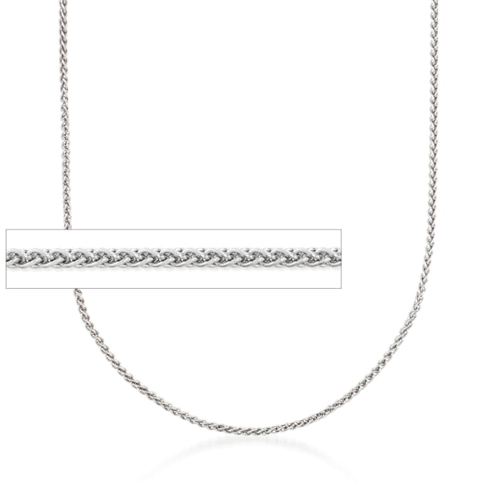 1.2mm 14kt White Gold Wheat Chain Necklace