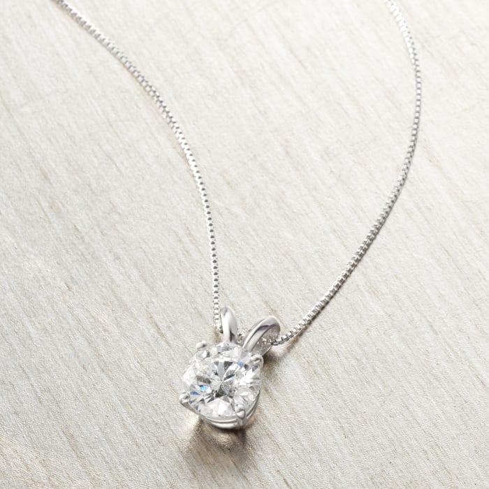 1.00 Carat Diamond Solitaire Necklace in Platinum