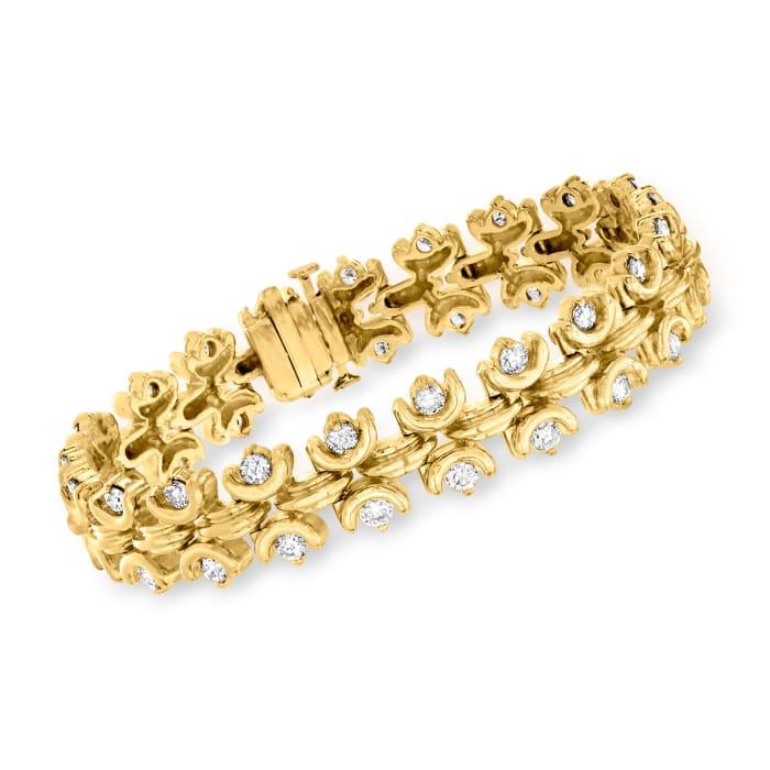 C. 1990 Vintage 4.20 ct. t.w. Diamond Bracelet in 14kt Yellow Gold