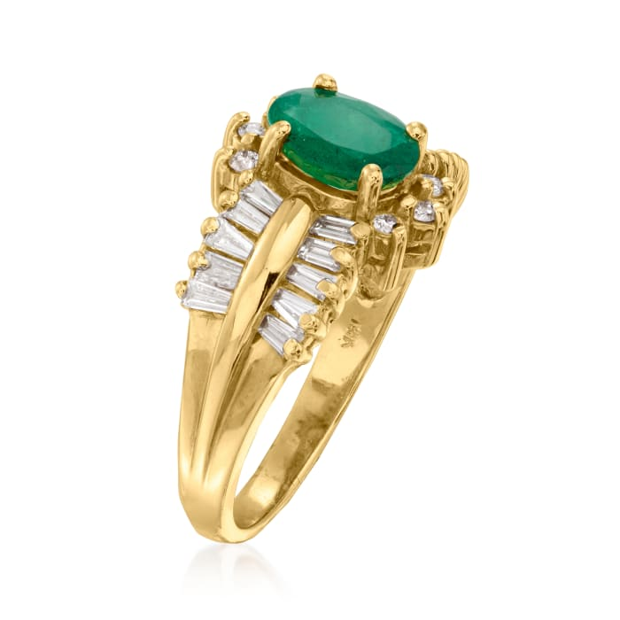 1.10 Carat Emerald and 1.12 ct. t.w. Diamond Ring in 14kt Yellow Gold