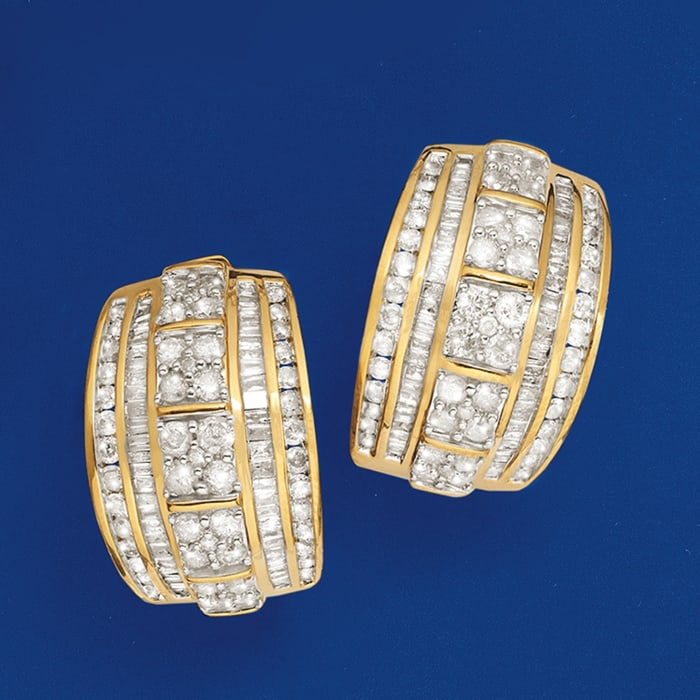 3.00 ct. t.w. Round and Baguette Diamond Hoop Earrings in 18kt Gold Over Sterling