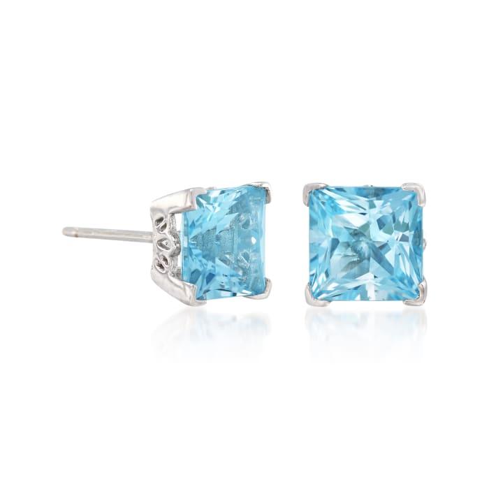4.10 ct. t.w. Princess-Cut Swiss Blue Topaz Stud Earrings in Sterling Silver
