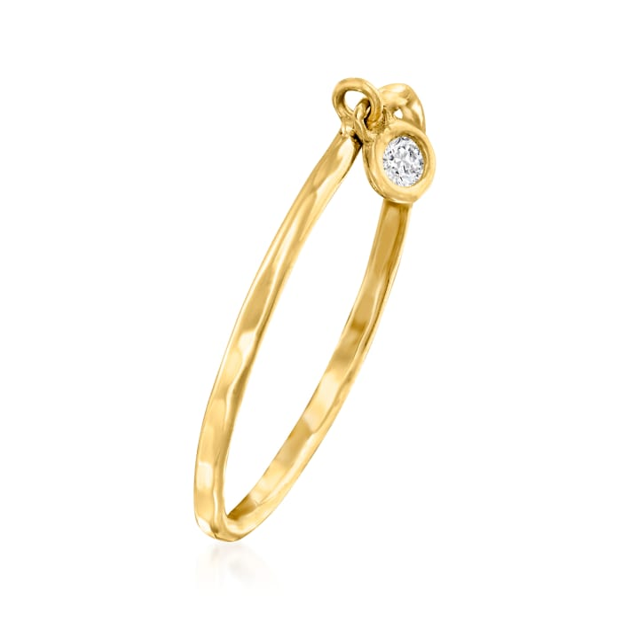 14kt Yellow Gold Bezel-Set Diamond Accent Charm Ring