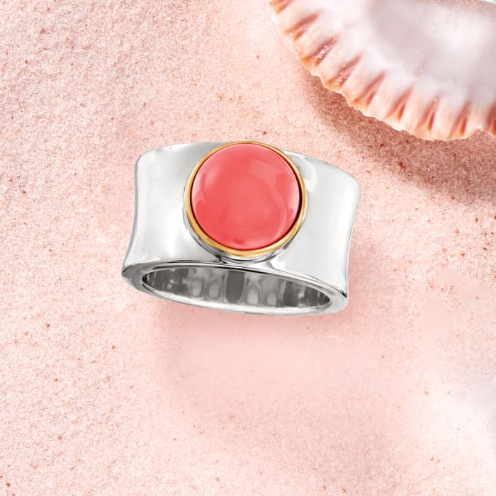Orange Coral Wide Ring in Sterling Silver with 14kt Yellow Gold