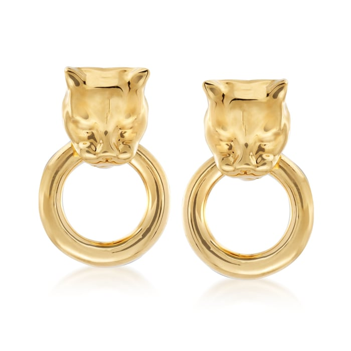 Andiamo 14kt Yellow Gold Over Resin Panther Head Doorknocker Earrings
