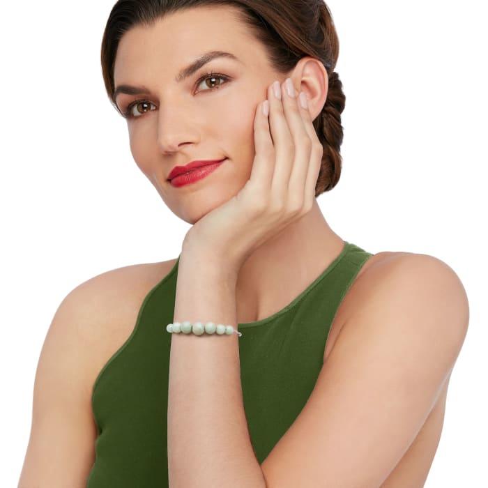 Jade Bead Graduated Bolo Bracelet in Sterling Silver