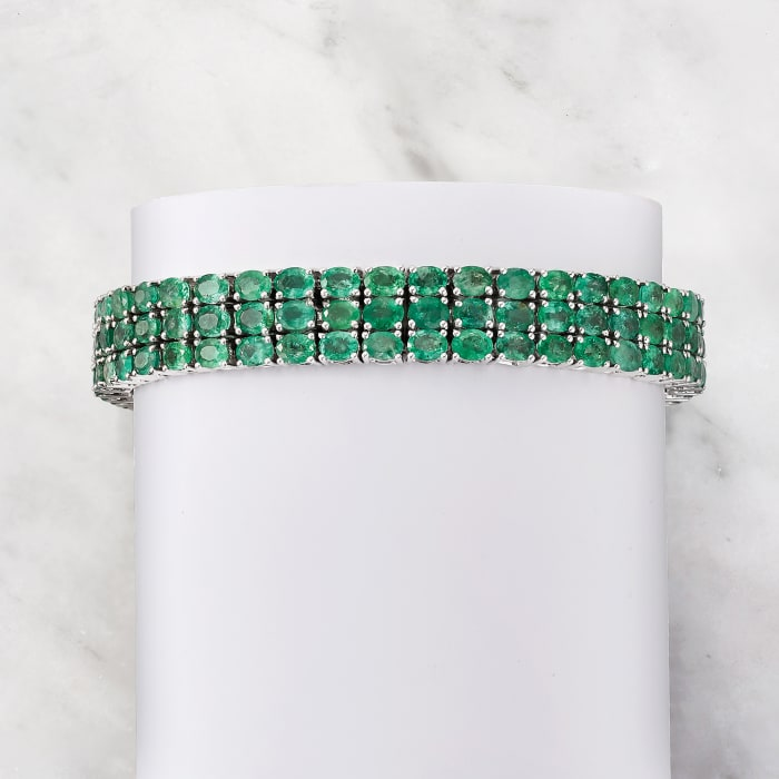 20.00 ct. t.w. Emerald Three-Row Tennis Bracelet in Sterling Silver