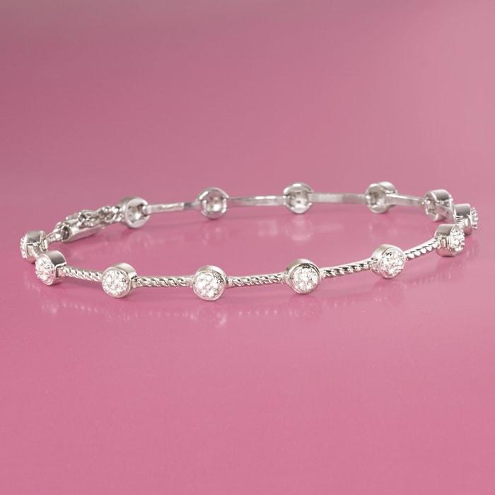 .20 ct. t.w. Bezel-Set Diamond Station Bracelet in Sterling Silver