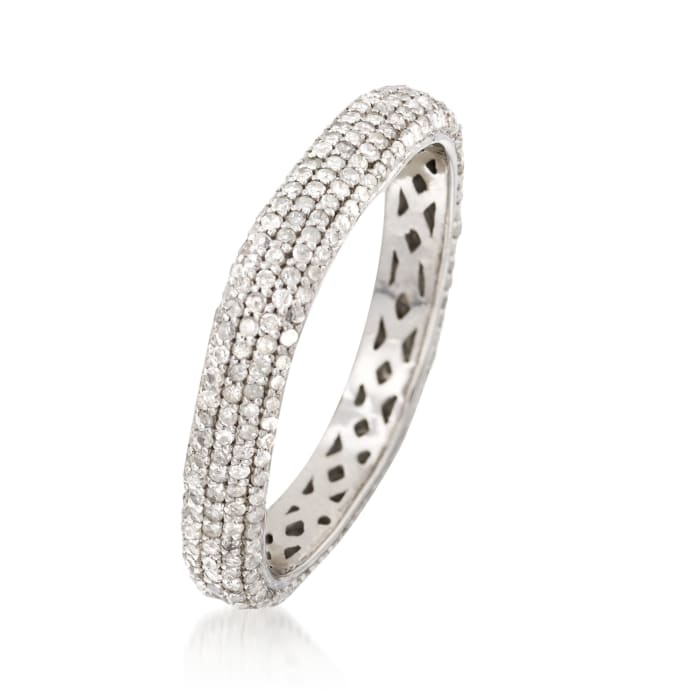 1.00 ct. t.w. Pave Diamond Squared Eternity Band in Sterling Silver