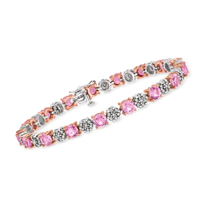 8.50 ct. t.w. Pink Sapphire and 1.50 ct. t.w. Diamond Bracelet in 14kt Two-Tone Gold
