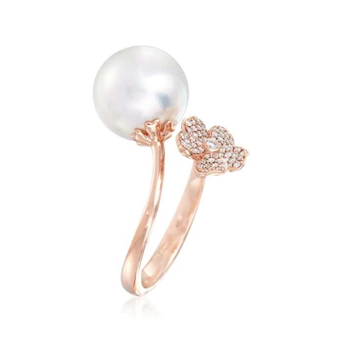 """Mikimoto """"Cherry Blossom"""" 11mm A+ South Sea Pearl and .14 ct. t.w. Diamond Floral Bypass Ring in 18kt Rose Gold"""