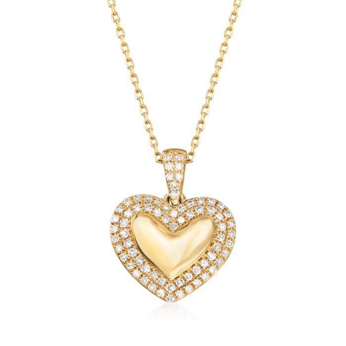 .15 ct. t.w. Diamond Heart Pendant Necklace in 14kt Yellow Gold