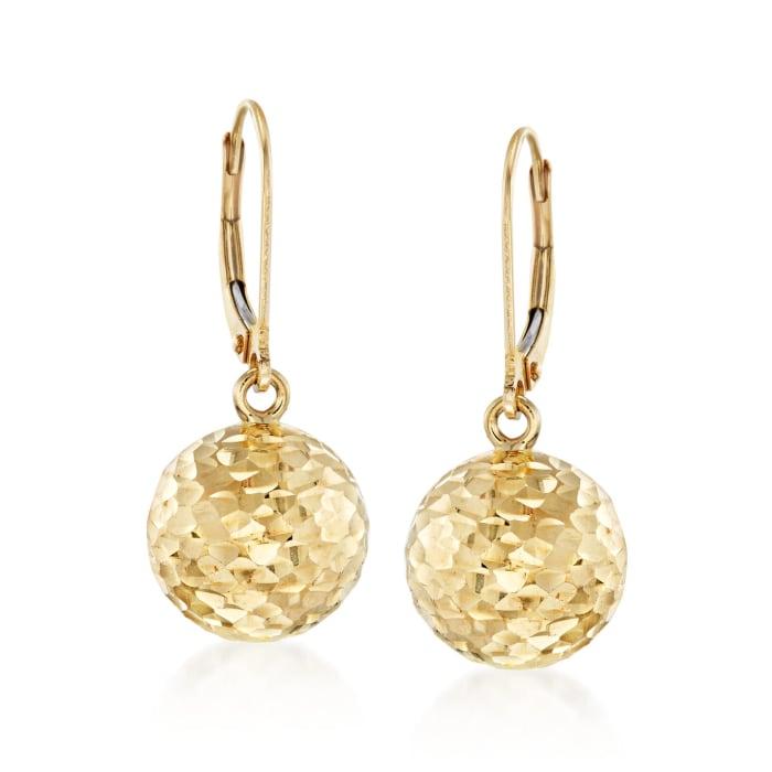 Italian 12mm 18kt Yellow Gold Diamond-Cut Bead Drop Earrings