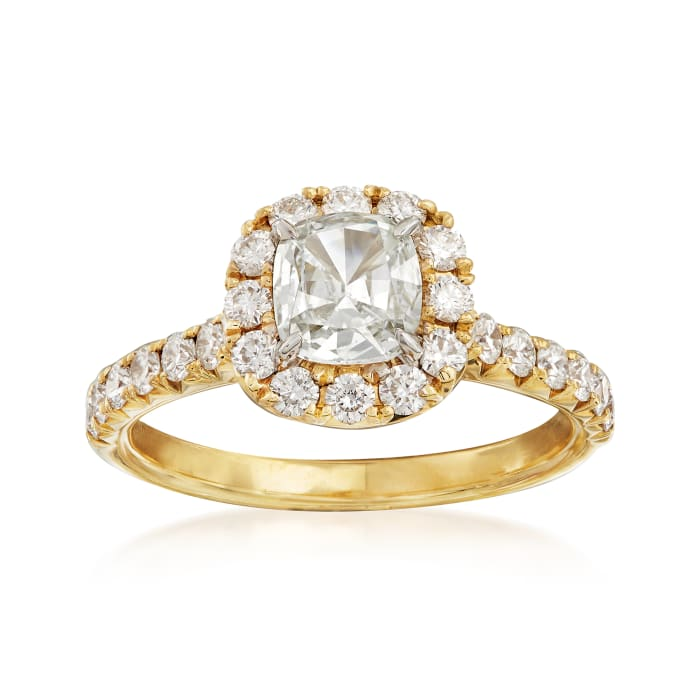 Henri Daussi 1.42 ct. t.w. Certified Diamond Engagement Ring in 18kt Yellow Gold