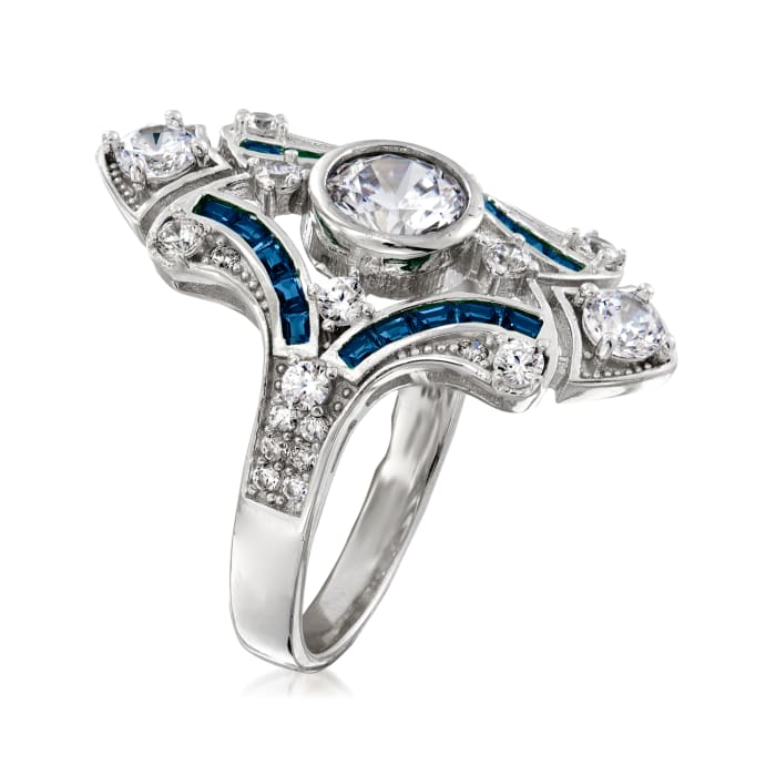 1.55 ct. t.w. CZ and .20 ct. t.w. Simulated Sapphire Ring in Sterling Silver