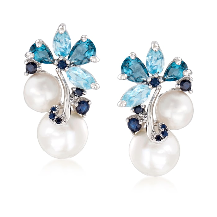 6-8.5mm Cultured Pearl and 2.00 ct. t.w. Sky Blue Topaz and London Blue Topaz Earrings with .10 ct. t.w. Sapphires in Sterling Silver