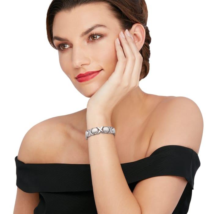 Italian Sterling Silver Brushed and Polished XO Link Bracelet