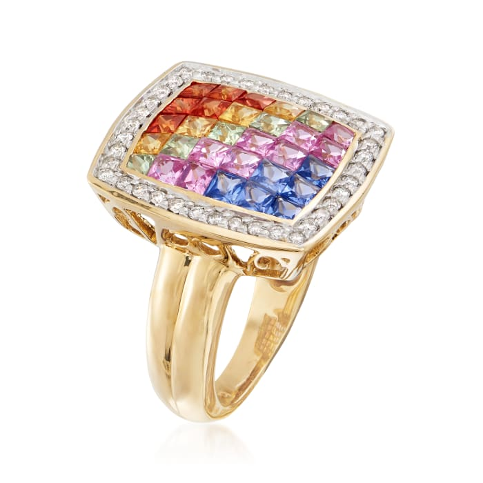 2.40 ct. t.w. Multicolored Sapphire and .30 ct. t.w. Diamond Ring in 18kt Yellow Gold