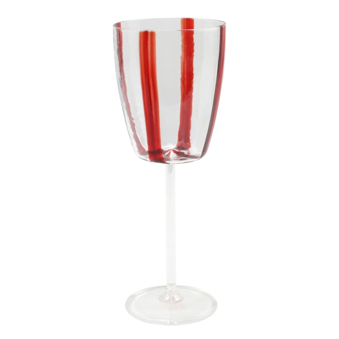 "Vietri ""Stripe Red"" Wine Glass from Italy"