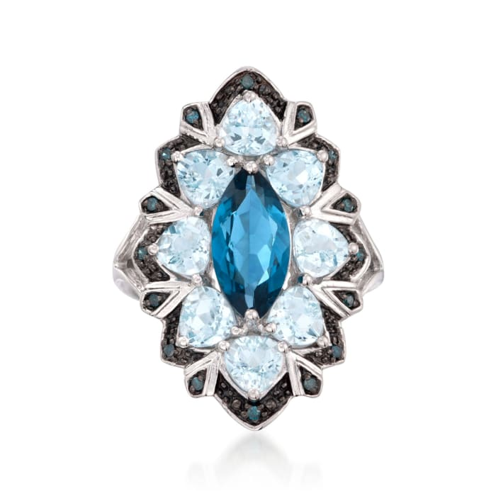 2.20 Carat London Blue Topaz and 2.50 ct. t.w. Aquamarine Ring with Blue Diamonds in Sterling Silver