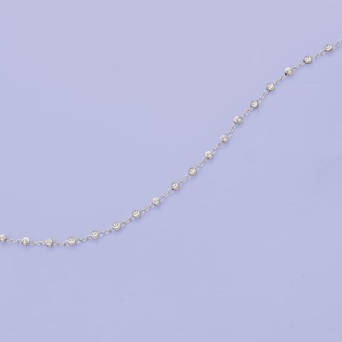 3mm Sterling Silver Diamond-Cut Bead Station Anklet