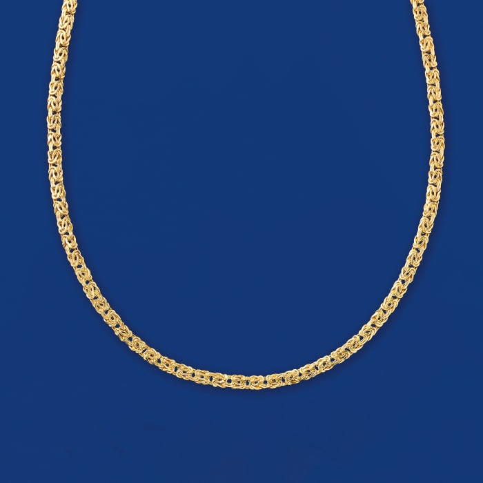 4mm 14kt Yellow Gold Byzantine Necklace