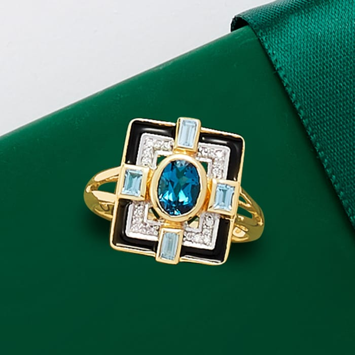 1.20 ct. t.w. London and Sky Blue Topaz and Black Enamel Ring with Diamond Accents in 14kt Yellow Gold
