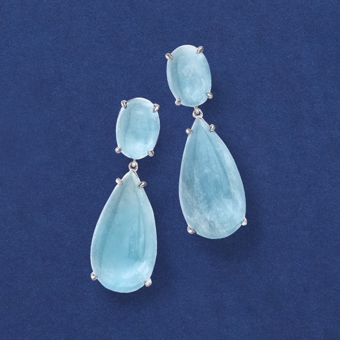 50.00 ct. t.w. Milky Aquamarine Drop Earrings in Sterling Silver