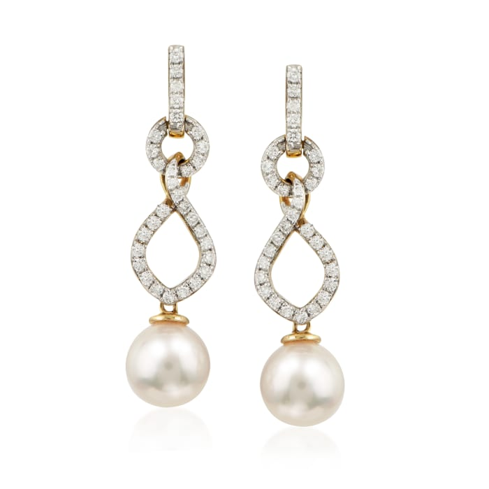 8.5-9mm Cultured Akoya Pearl and .60 ct. t.w. Diamond Drop Earrings in 14kt Yellow Gold