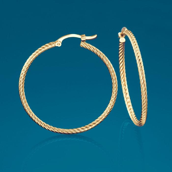 14kt Yellow Gold Roped Hoop Earrings