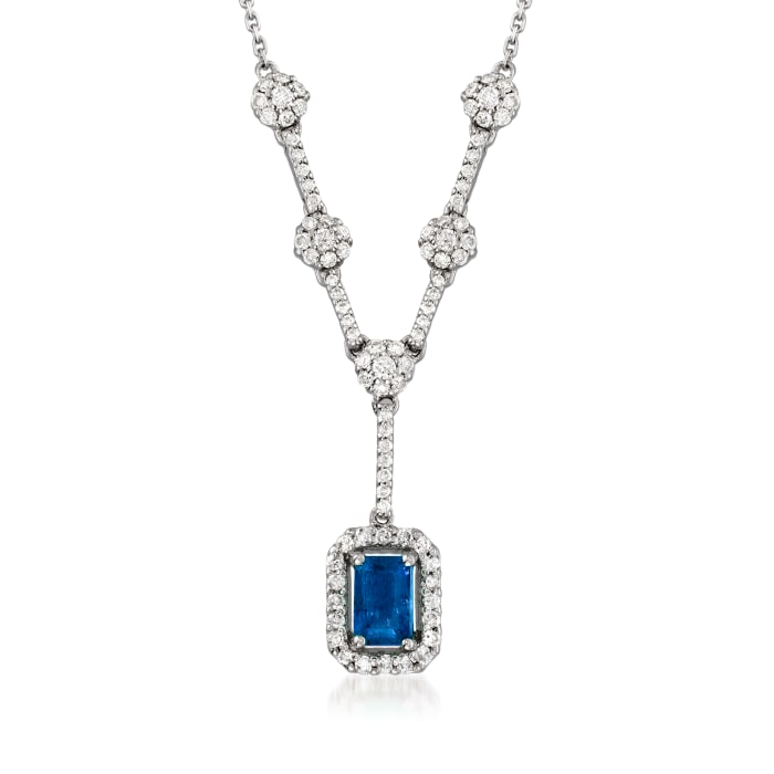 .70 Carat Sapphire and .64 ct. t.w. Diamond Y-Necklace in 14kt White Gold