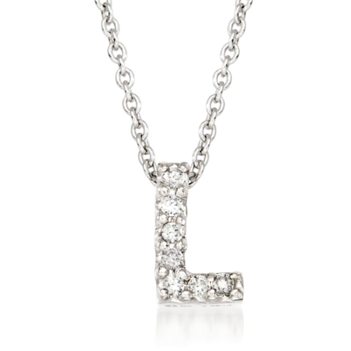"""Roberto Coin """"Love Letter"""" Diamond Accent Initial """"L"""" Necklace in 18kt White Gold"""