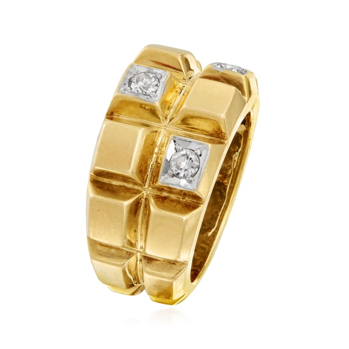 C. 1980 Vintage .30 ct. t.w. Diamond Squared-Sections Ring in 14kt Yellow Gold