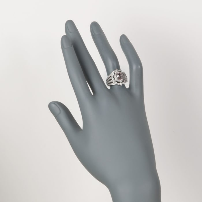 1.00 Carat Morganite and .20 ct. t.w. Diamond Ring in Sterling Silver