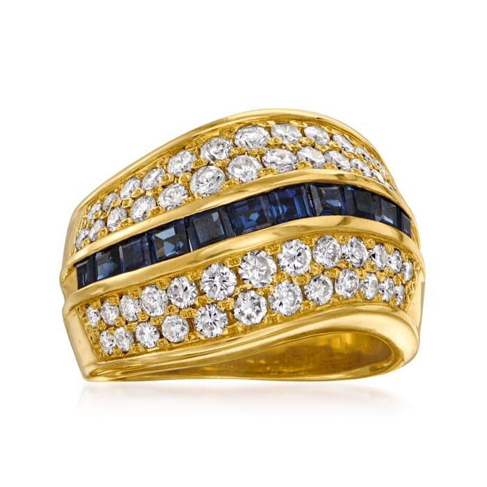 C. 1990 Vintage 1.27 ct. t.w. Diamond and 1.24 ct. t.w. Sapphire Ring in 18kt Yellow Gold
