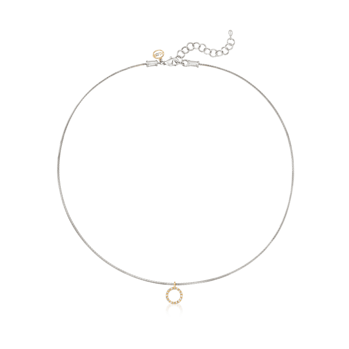 """ALOR Gray """"Classique"""" .14 ct. t.w.  Diamond Stainless Steel Cable Pendant Necklace with 18kt Gold"""